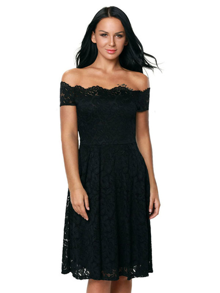 Black Lace Dress Off The Shoulder Women's Pleated Summer Short Dresses фото