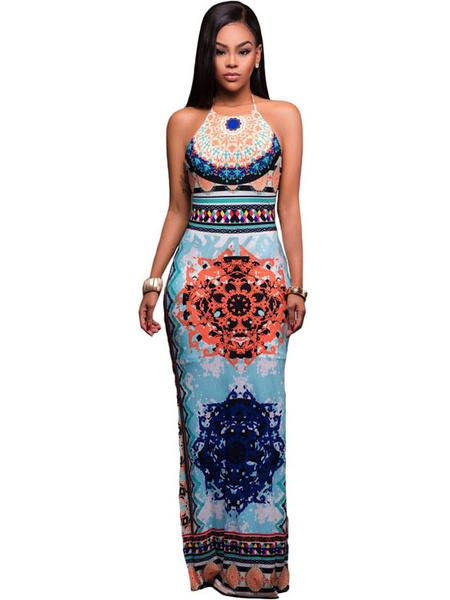 Boho Maxi Dress Halter Sleeveless Backless Printed Long Dress For Women, Light sky blue;deep blue