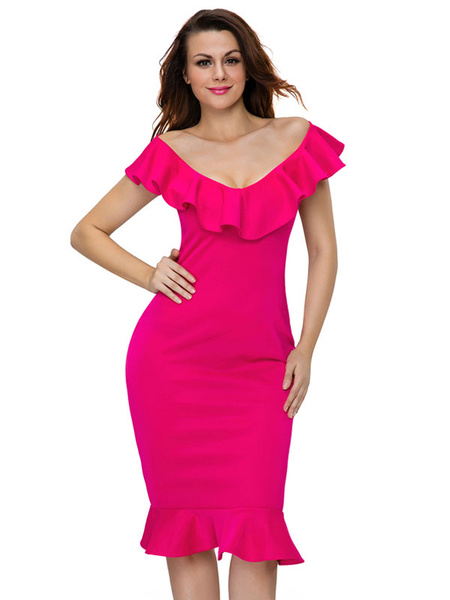 Rose Bodycon Dress Off The Shoulder Short Sleeve Ruffle Hem Slim Fit Sheath Dress For Women
