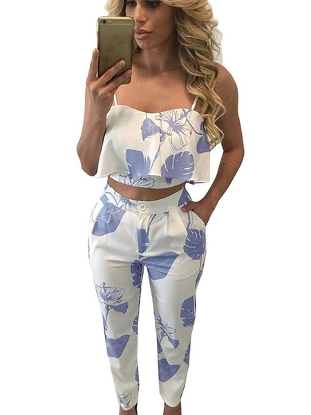 2 Pieces Outfit Printed Spaghetti Strap Ruffles Cami Top With Tapered Cropped Pants фото