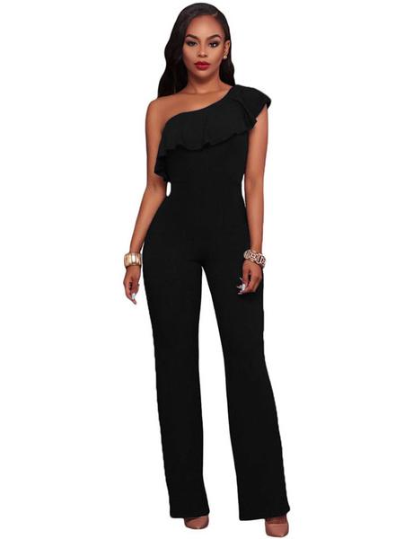 Women' Black Jumpsuit One Shoulder Sleeveless Low Back Ruffles Straight Leg Playsuit, Dark navy