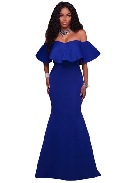 Maxi Mermaid Dress Off The Shoulder Half Sleeve Ruffles Women's Shaping Long Party Dress