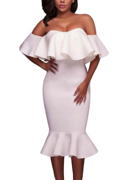 Women' Bodycon Dress Off The Shoulder Half Sleeve Ruffles Backless Mermaid Wrap Dress, White;pink;black;deep blue;rose