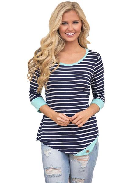 Women's T Shirt Light Blue Striped Round Neck 3/4 Length Sleeve Casual Top, Light sky blue;pink