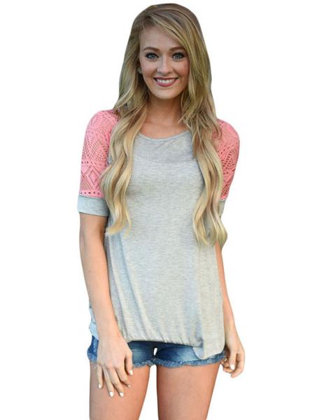 Women' T Shirt Two Tone Contrast Raglan Short Sleeve Casual Top, Black