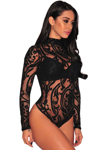 Women's Printed Bodysuit Nets Sheer High Collar Long Sleeve Sexy Lingerie