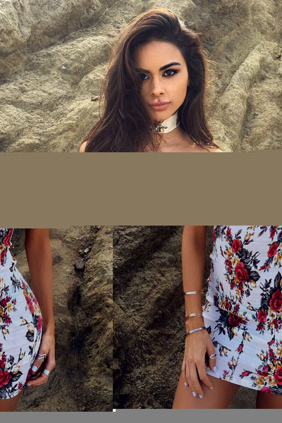 Bodycon Choker Dress Floral Printed Off The Shoulder Short Sleeve Mini Dress For Women