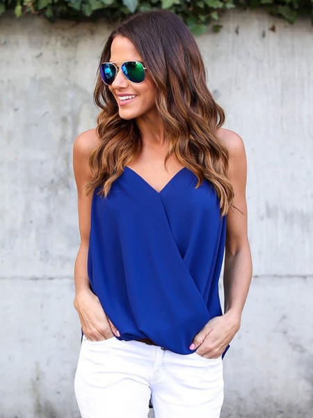 Chiffon Cami Top V Neck Layered Ruched Pleated Casual Sleeveless Top Milanoo