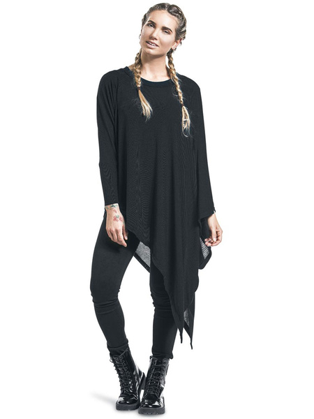 Women's Black Cape Round Neck Long Sleeve Irregular Swing Pullover Poncho