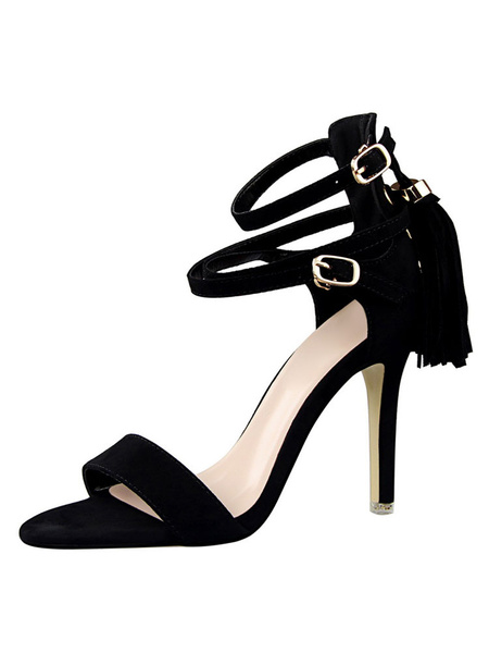Women's Suede Sandals Tassels Strappy Buckled Stiletto High Heel Sandal Shoes