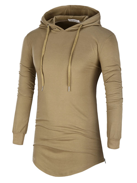 Men's Hooded Sweatshirt Drawstring Long Sleeve U Hem Casual Long Line Pullover Sweater