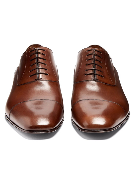 Brown Dress Shoes Cowhide Men's Square Toe Lace Up Oxford Shoes фото