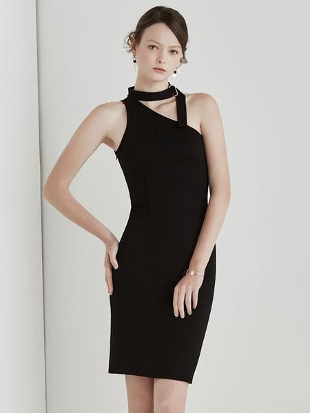 Black Bodycon Choker Dress Metal Details One Shoulder Sleeveless Cut Out Women's Midi Dress фото