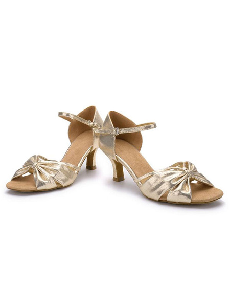 Latin Dance Shoes Twisted Bow Decor Ankle Strap Spool Heel Women's Ballroom Shoes