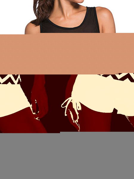 2 Piece Swimsuit Black Striped Sleeveless Tankini Swimwear In 2 Piece Set