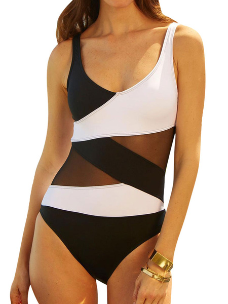 Black Bathing Suits Sheer Patchwork Two Tone One Piece Swimsuit For Women