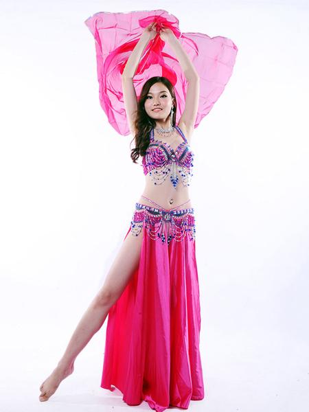 Danza Del Ventre Costume Di Raso Strass Perline Reggiseno Sexy Top Con Fessura In Alto A Pieghe Gonna Lunga E Chilow