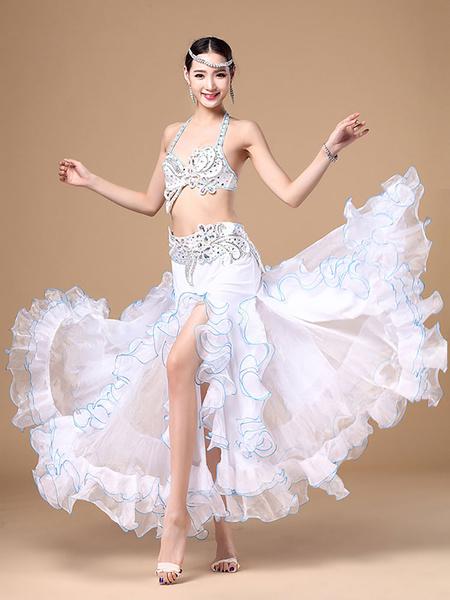 Costume da danza del ventre in chiffon interpretazione per donna disegno di Multicolore gonna lunga&