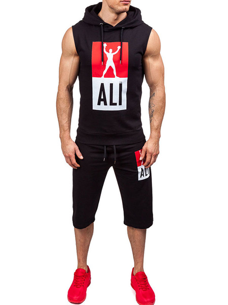 2 Piece Sport Outfits Men's Hooded Sleeveless Printed Top With Short Pants