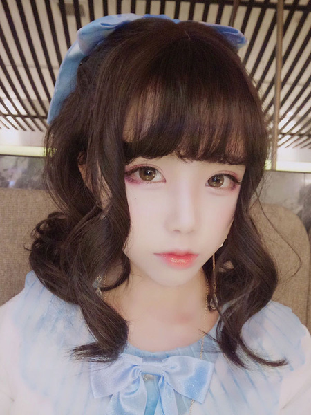Harajuku Lolita Wigs Chestnut Brown Long Curly Blunt Bangs Synthetic Hair Wigs фото