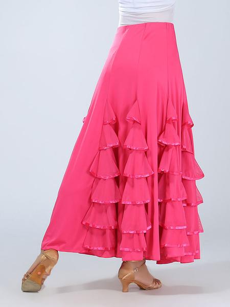 Ballroom Dance Costume Women's Red Ruffle Performance Long Skirt фото
