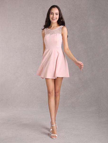 Pink Summer Dress Lace Cut Out Bow Back Design Elastic Skater Dress For Women