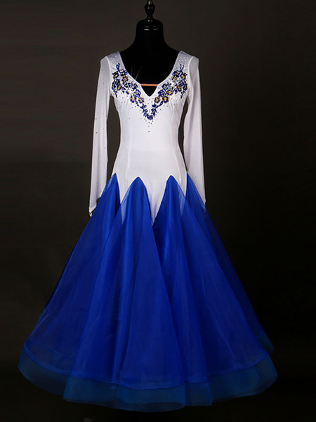 Ballroom Dance Costumes Organza Royal Blue Long Sleeve Rhinestones Beaded Dance Dress фото