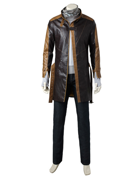 Watch Dogs Game Aiden Pearce Leather Cosplay Costume In 5 Pieces фото