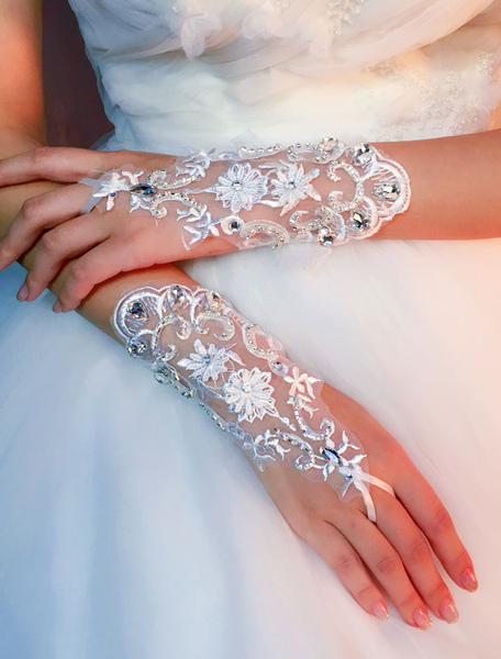 Short Wedding Gloves Ivory Tulle Fingerless Rhinestones Bridal Gloves