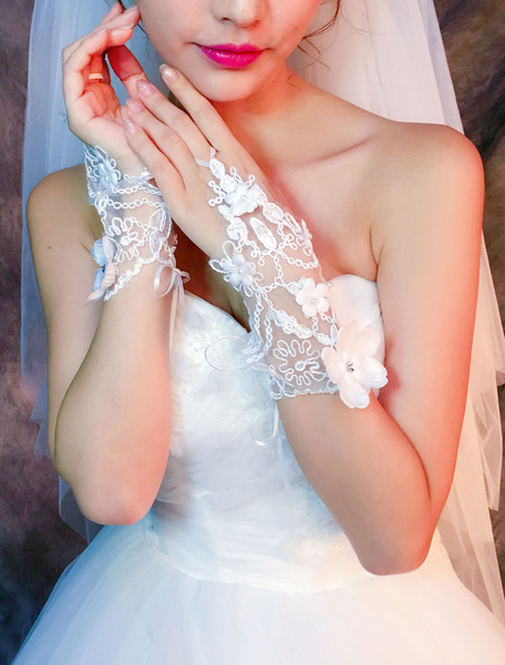 Short Wedding Gloves Ivory Lace Rhinestones Flowers Beaded Bridal Gloves