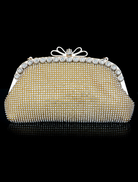 Evening Clutch Bag Gold Rhinestones Beading Glitter Wedding Bridal Purse (usa40680146) photo