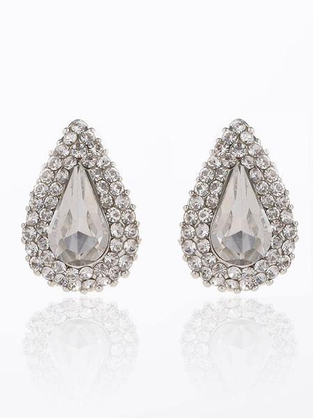 Wedding Drop Earrings Silver Rhinestone Beading Bridal Stud Earrings