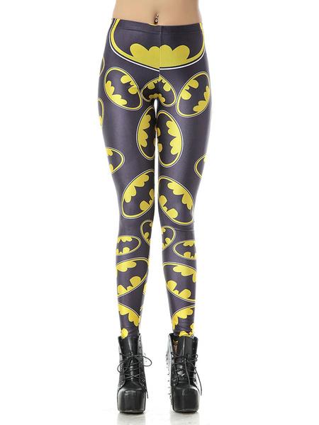 Black Halloween Leggings Demons Print Women's Cruise Skinny Tights Milanoo