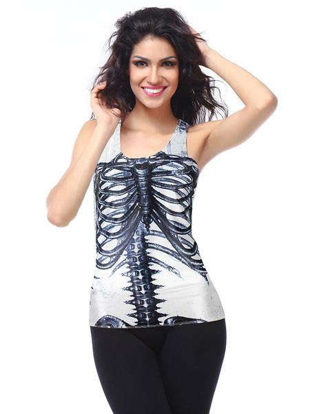 White Halloween Tank Skeleton Print U Neck Women's Cruise Sleeveless Top