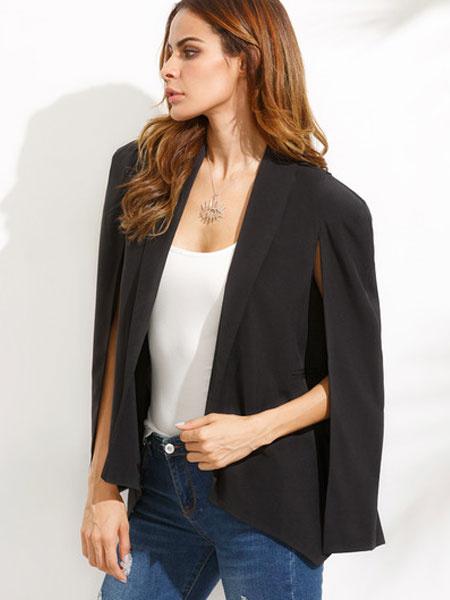Black Cape Blazer Women's Long Sleeve Split Waterfall Jacket