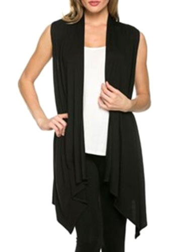Black Vest Jacket Sleeveless Open Front Women's Casual Long Summer Tops