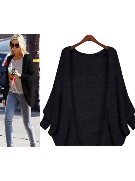Black Cardigan Jacket Women's Batwing Long Sleeve Knitted Longline Jacket фото