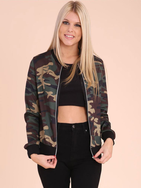 Oversized Camo Jacket Women's Round Neck Long Sleeve Zip Up Army Jacket