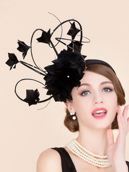 Vintage Hair Fascinator Feather Strappy Flowers Women's Black Flapper Hat фото