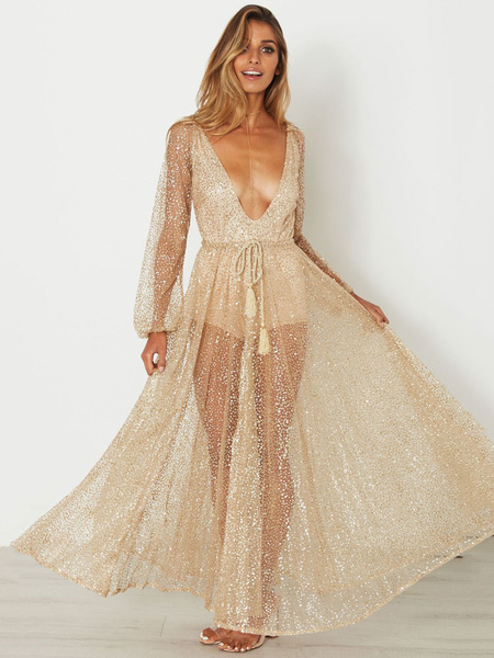 Gold Maxi Dress Plunging Neck Long Sleeve Rhinestones Lace Up Glitter Women's Long Dresses фото