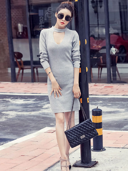 Bodycon Choker Dress Grey Long Sleeve Cut Out Midi Dresses For Women