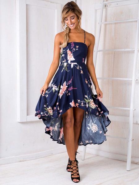 Summer Maxi Dress Deep Blue Sleeveless Floral Print High Low Backless Criss Cross Spaghetti Straps W