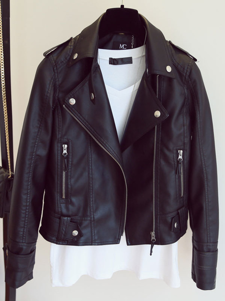 Black Moto Jacket Turndown Collar Long Sleeve Women's Punk Leather Jacket