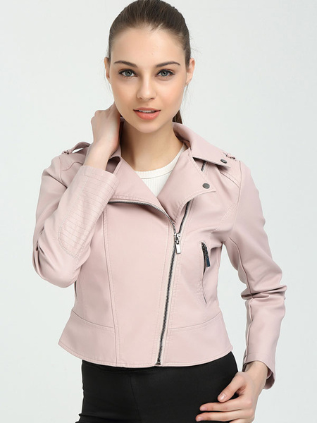 Pink Moto Jacket Faux Leather Turndown Collar Long Sleeve Women's Boyfriend Short Jacket