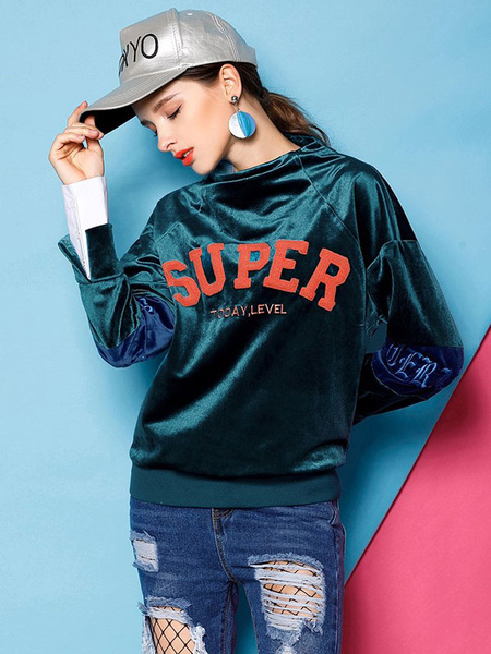 Atrovirens Casual Sweatshirt Round Neck Long Sleeve Split Velvet Letters Print Women's Sweatshirt
