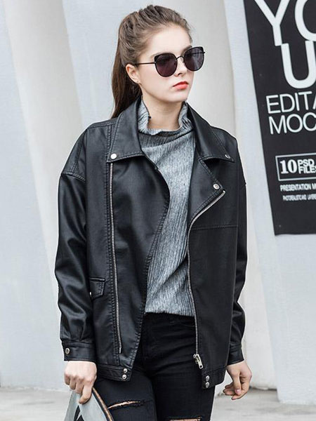 Black Biker Jacket Faux Leather Women's Turndown Collar Long Sleeve Boyfriend Moto Jacket