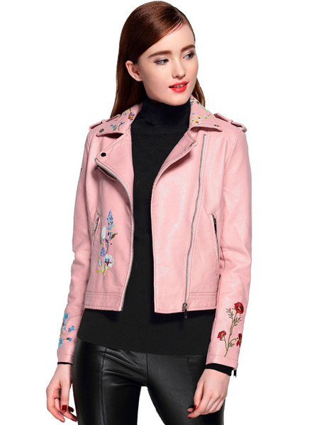 Women's Moto Jacket Faux Leather Pink Embroidered Long Sleeve Women's Short Jacket