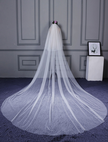 Wedding Cathedral Veil Cut Edge One Tier Waterfall Ivory Veil For Brides