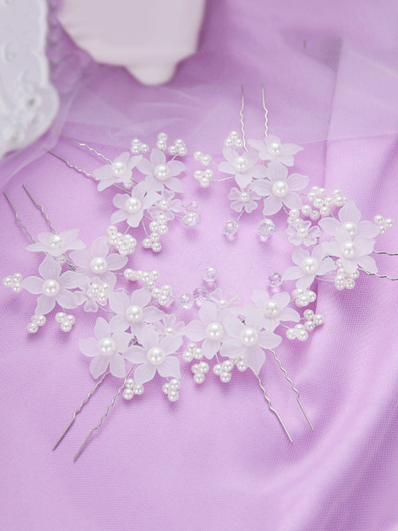 Image of Copricapo accessori con perle matrimonio spazzola per ragazze