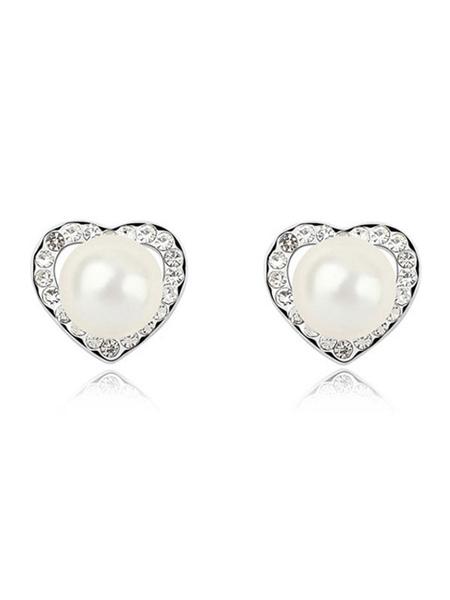 White Stud Earrings Vintage Pearls Rhinestones Pierced Wedding Earrings